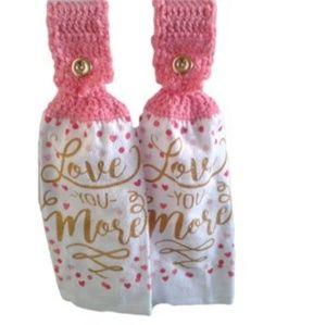 Handmade Crocheted Top Dish Towel Set of 2